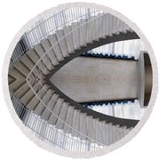 Chicago Art Institute Staircase Mirror Image 01 Round Beach Towel