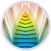 Chicago Art Institute Staircase Pa Prism Mirror Image Vertical 02 Round Beach Towel