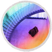 Chicago Art Institute Staircase Pa Prismatic Round Beach Towel
