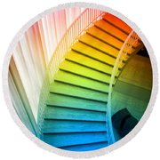 Chicago Art Institute Staircase Pa Prismatic Vertical 02 Round Beach Towel