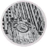 Chicago Board Of Trade Bw Round Beach Towel