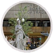 Chicago Board Of Trade Signage Round Beach Towel