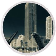 Chicago Bridges-2 Round Beach Towel