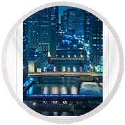 Chicago Bridges Poster Round Beach Towel