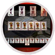 Chicago Bulls Banners Collage Round Beach Towel