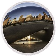 Chicago Cloud Gate At Sunrise Round Beach Towel