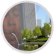 Chicago Crown Fountain 8 Round Beach Towel