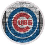 Chicago Cubs Brick Wall Round Beach Towel