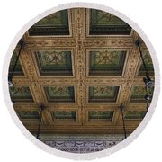 Chicago Cultural Center Staircase Ceiling Round Beach Towel