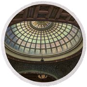 Chicago Cultural Center Tiffany Dome 01 Round Beach Towel