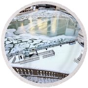 Chicago Downtown City  Round Beach Towel