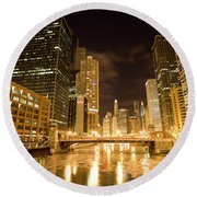 Chicago Downtown City  Night Photography Round Beach Towel