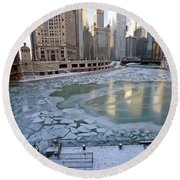 Chicago Downtown City  Night Photography Wrigley Square Round Beach Towel