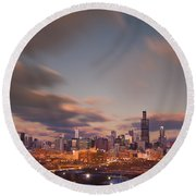 Chicago Dusk Round Beach Towel