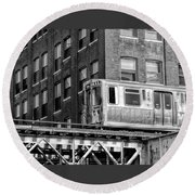 Chicago El And Warehouse Black And White Round Beach Towel