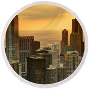 Chicago Evenings Round Beach Towel
