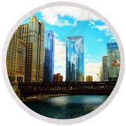 Chicago Fall Round Beach Towel