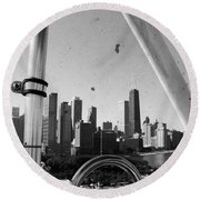 Chicago Ferris Wheel Skyline Round Beach Towel