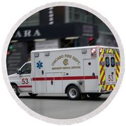 Chicago Fire Department Ems Ambulance 53 Round Beach Towel