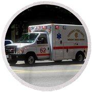 Chicago Fire Department Ems Ambulance 62 Round Beach Towel