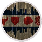 Chicago Flag Barn Door Round Beach Towel