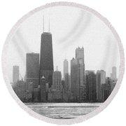 Chicago Frozen Skyline Panorama Round Beach Towel