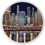 Chicago Full City View Round Beach Towel