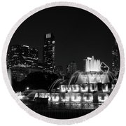 Chicago Grant Park Grayscale Round Beach Towel