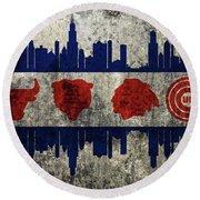 Chicago Grunge Flag Round Beach Towel