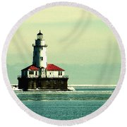 Chicago Harbor Lighthouse Round Beach Towel