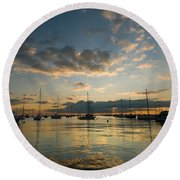 Chicago Harbor Sunrise Round Beach Towel
