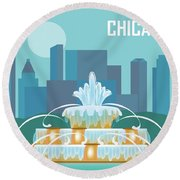 Chicago Illinois Horizontal Skyline - Buckingham Fountain Round Beach Towel