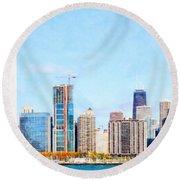 Chicago Illinois Skyline Painterly Triptych Plate Three Of Three 20180516 Round Beach Towel