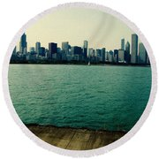 Chicago Lake Michigan Skyline Round Beach Towel