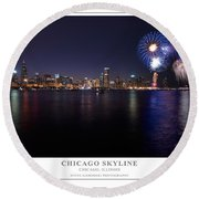 Chicago Lakefront Skyline Poster Round Beach Towel