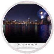Chicago Lakefront Skyline Poster Round Beach Towel by Steve Gadomski