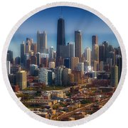 Chicago Looking East 01 Round Beach Towel