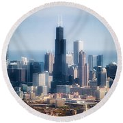 Chicago Looking East 02 Round Beach Towel