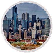 Chicago Looking West 02 Round Beach Towel
