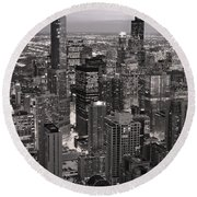 Chicago Loop Sundown B And W Round Beach Towel