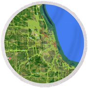 Chicago Map, Old Map, Abstract, Abstract Art, Blue, Blue And Purple Art Round Beach Towel