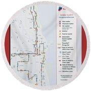 Chicago Marathon Race Day Route Map 2014 Round Beach Towel