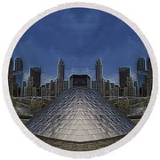 Chicago Millennium Park Bp Bridge Mirror Image Round Beach Towel