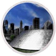 Chicago Millennium Park Bp Bridge Pa 01 Round Beach Towel