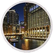 Chicago Night Lights Round Beach Towel