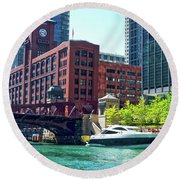 Chicago Parked By The Clark Street Bridge On The River Round Beach Towel