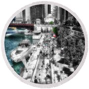 Chicago Parked On The River Walk 03 Sc Round Beach Towel