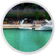 Chicago Parked On The River Walk Panorama 01 Round Beach Towel