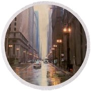 Chicago Rainy Street Round Beach Towel