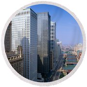 Chicago River, Aerial Shot, Illinois Round Beach Towel